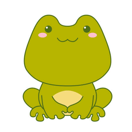 Cute little green frog isolated on white background. Flat design for poster or t-shirt. Vector illustration