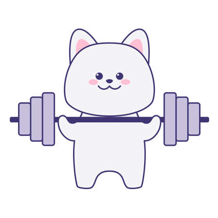 Cute cat holding a barbell isolated on a white background. Flat design for poster or t-shirt. Vector illustration Vettoriali