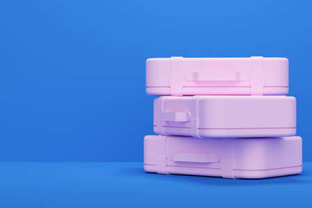 Blue studio background with pink travel suitcase. 3d rendering