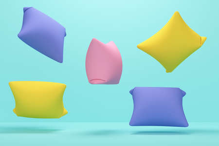 Colored flying pillows on a blue studio background. Healthy sleep concept. 3d rendering Stock fotó
