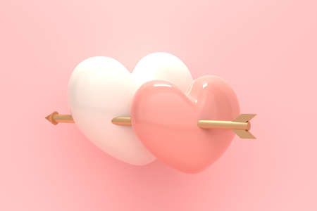 Two hearts and an arrow on a pink background. 3d rendering Stock fotó