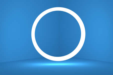 Blue corner of the room with a round bright lamp. 3d rendering