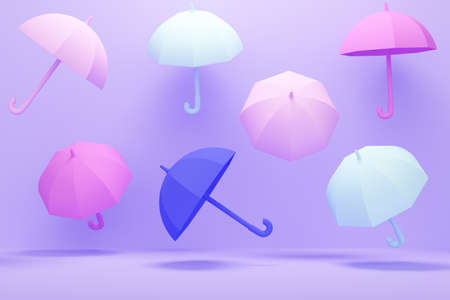 Lilac abstract background with colored umbrellas. 3d rendering