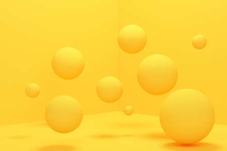 Abstract background balls levitate in the corner of yellow room. 3d rendering
