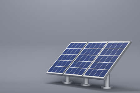 Solar panels on a dark background. Green energy concept. 3d rendering