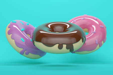 Flying glazed donuts with powder on blue background. 3d rendering