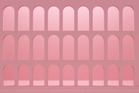Building with arches and pink wall. 3d rendering