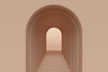 Brown abstract background with corridor of arches. 3d rendering