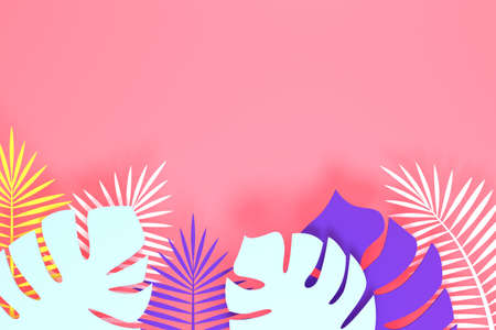 Abstract pink background with tropical leaves. 3d rendering