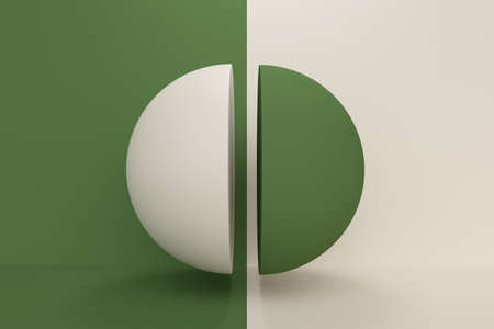 Abstract background with green and white half ball. 3d rendering