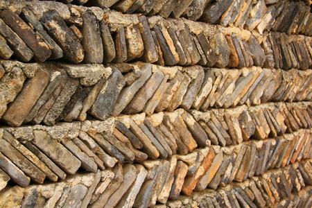 china wall: Pared china antigua con ladrillos diagonales, provincia de Anhui, China Foto de archivo