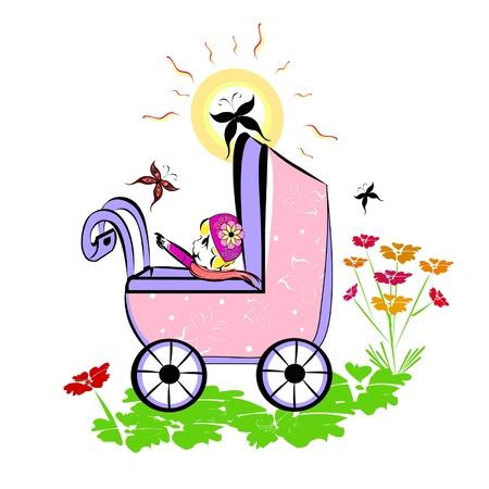 naughty woman: Vector summer illustration of baby in pram Illustration