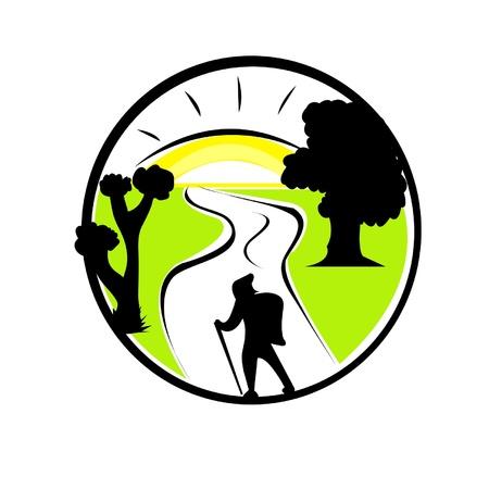 excursions: Vector illustration of tourism emblem