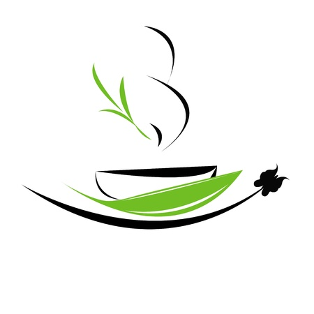green tea leaves: Vector illustration of cup of tea icon
