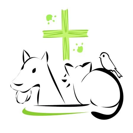 veterinary symbol: Vector illustration of veterinary clinic emblem