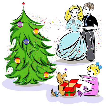 Vector illustration of Christmas celebrating family Stock Vector - 24536150