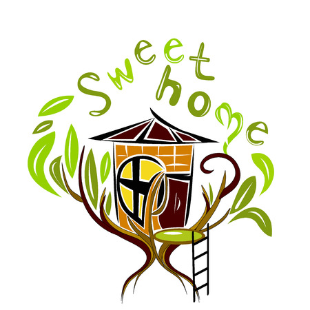 illustration of sweet home on the tree