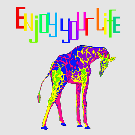 labeled: Illustration with the image of multi-colored giraffe labeled Enjoy your life