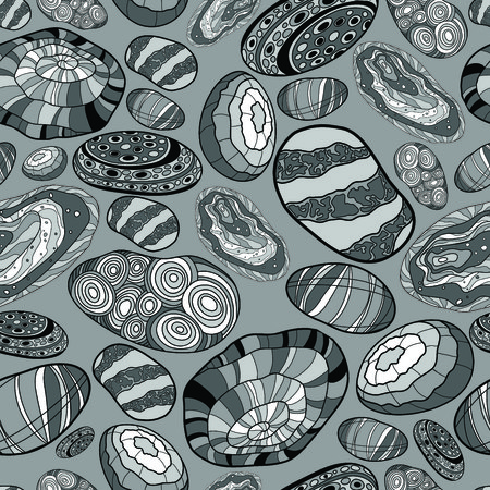 river rock: pattern with the image of decorative stones in black and white and gray colors, in a monochrome palette Illustration