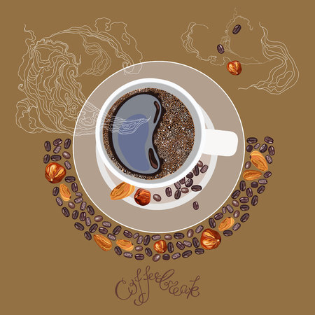 coffe break: illustration with the image of a cup of coffe, lettering Coffee break and smoke Illustration