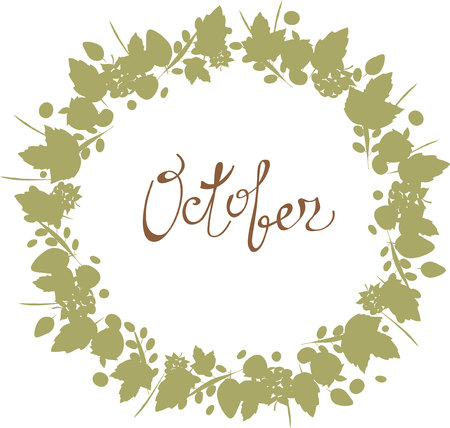 october lettering in a frame of leaves autumn elements and
