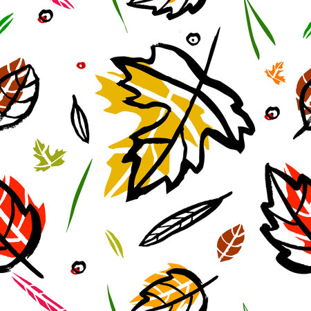 grass blades: seamless pattern with leaf, berries, blades of grass, autumn elements and templates on a white background. autumn hipster background. Bright pattern. Autumn template.