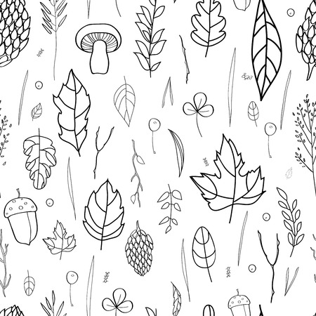 blades of grass: seamless pattern with leaf, berries, blades of grass, autumn elements and templates. black and white background. autumn hipster background. Bright pattern. Autumn template.