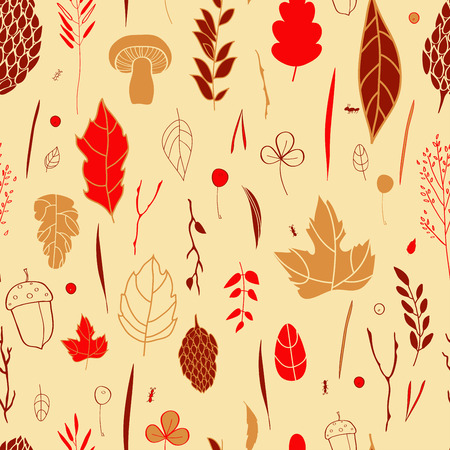 grass blades: seamless pattern with leaf, berries, blades of grass, autumn elements and templates. ocher, red, brown background. autumn hipster background. Bright pattern. Autumn template.