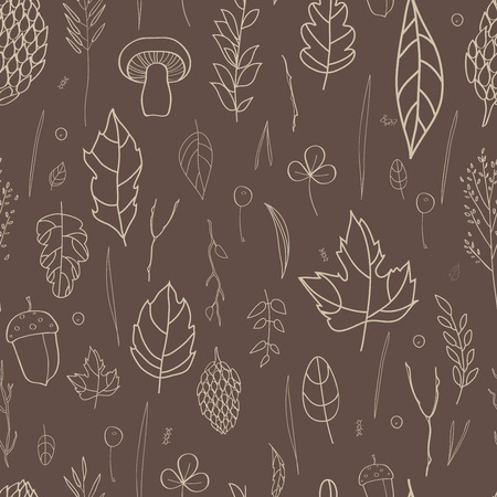 blades of grass: seamless pattern with leaf, berries, blades of grass, autumn elements and templates. gray outline on a brown background. autumn hipster background. Bright pattern. Autumn template Illustration