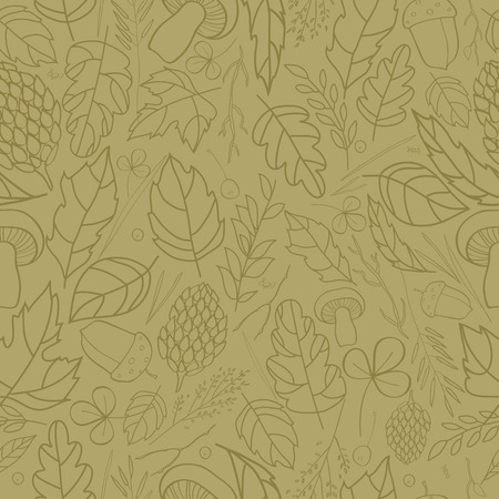 grass blades: seamless pattern with leaf, berries, blades of grass, autumn elements and templates. brown contour on ocher background. autumn hipster background. Bright pattern. Autumn template.