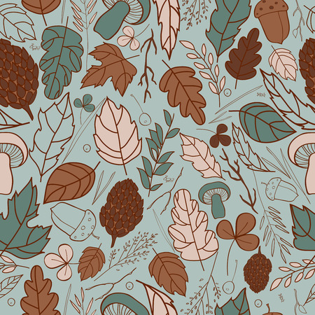 grass blades: seamless pattern with leaf, berries, blades of grass, autumn elements and templates. blue, brown, beige on a gray background. autumn hipster background. Bright pattern. Autumn template.