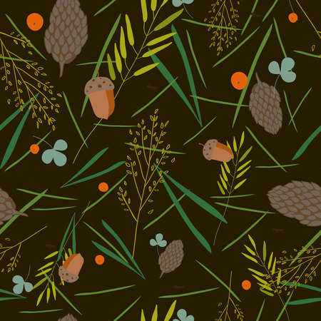 grass blades: pattern with the image of the forest cones, fir needles, leaves, blades of grass, acorns and ants on a brown- green background