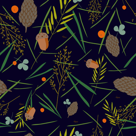 grass blades: pattern with the image of the forest cones, fir needles, leaves, blades of grass, acorns and ants on a dark blue background