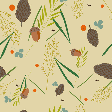 grass blades: pattern with the image of the forest cones, fir needles, leaves, blades of grass, acorns and ants on a gray-beige background. Illustration