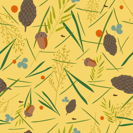 blades of grass: pattern with the image of the forest cones, fir needles, leaves, blades of grass, acorns and ants on a yellow background.