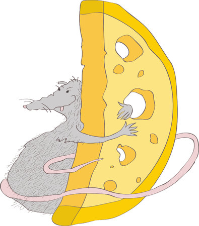 illustration with the image of a gray rat, embracing a large piece of cheese. character.