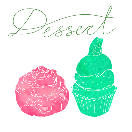 illustration with the image of two cakes made watercolor silhouette of pink and green. Dessert inscription Stock Photo