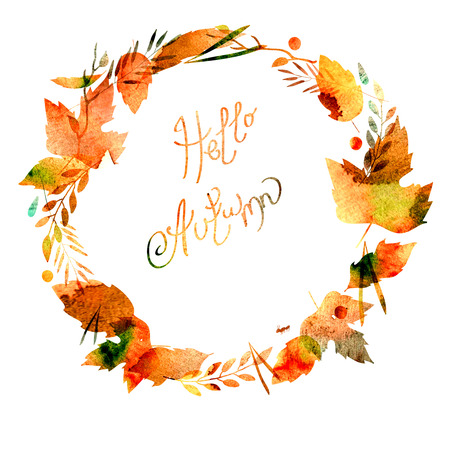 Autumn frame with leaves, berries, branches, autumn elements. Caption Hello autumn. watercolor texture yellow, brown, ocher, red, orange Stock Photo
