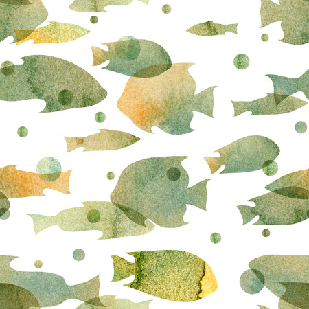 ocher: watercolor pattern with the image of silhouettes of fishes blue-gray, ocher shades on a white background