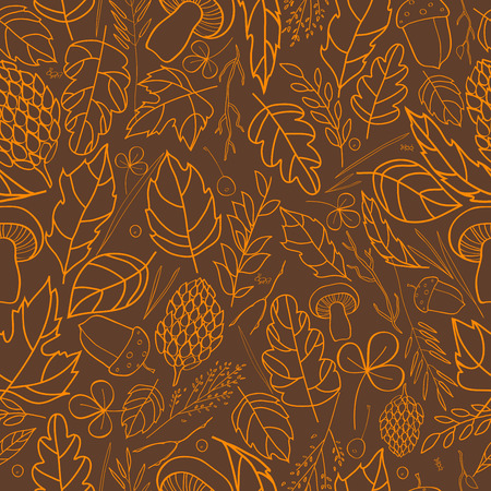 grass blades: Vector pattern of autumn leaves, berries, grass blades, cones, acorns autumn elements and templates. light brown, orange on a dark brown background. autumn hipster background. Bright pattern. Autumn template Illustration