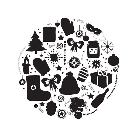 Illustration, vector set, Christmas symbols, the individual elements for holiday cards. black and white silhouette.