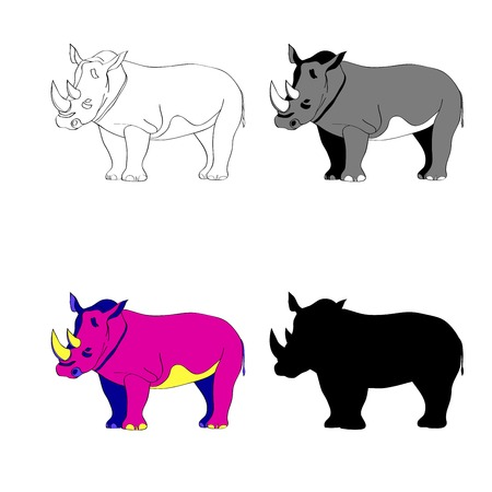 Vector illustration. Image rhino line silhouette, black and white and color.