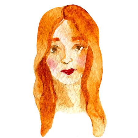 red haired: Watercolor illustration of a face image, a portrait of red-haired woman