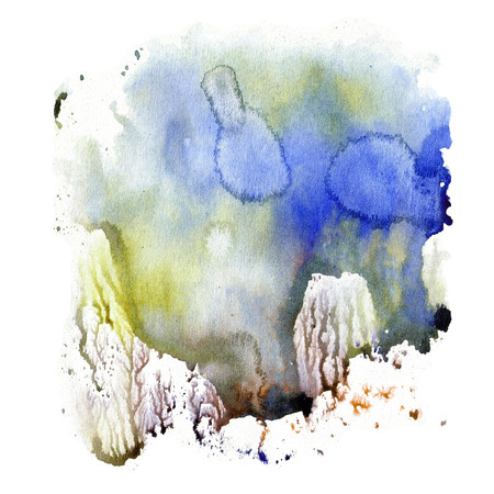 Illustration watercolor texture of transparent blue, brown, and gray colors. Watercolor abstract background, spots, blur, fill, print  Фото со стока