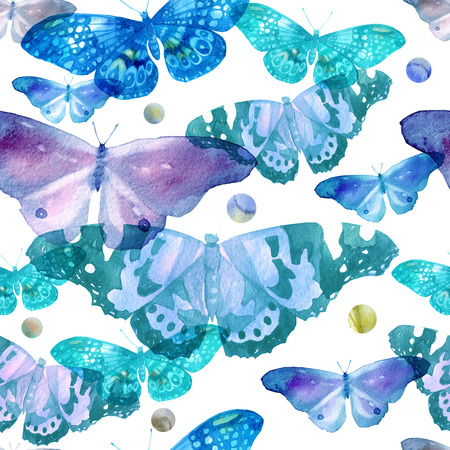 Watercolor pattern with the image of transparent butterflies in blue and violet colors on a white background