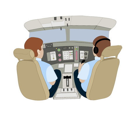 Vector illustration depicting pilots in an airplane from the back.