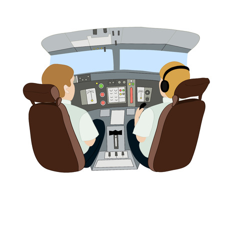 pilot  cockpit: Vector illustration depicting pilots in an airplane from the back