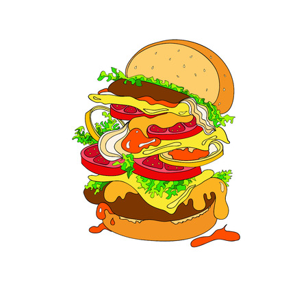 Vector illustration of a fantastic hamburger. Bun, cutlets, tomatoes, tomatoes, ketchup, onions, lettuce, greens Illustration