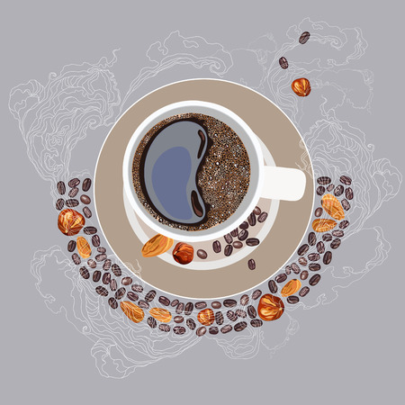 coffee beans: Vector illustration, coffee mug, on a plate. White smoke, coffee grains and nuts on a light gray background Illustration
