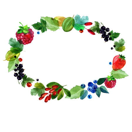 Watercolor illustration. Summer frame made of different berries and leaves. Raspberries, currants, gooseberries, strawberries, barberry blueberries Stock Photo